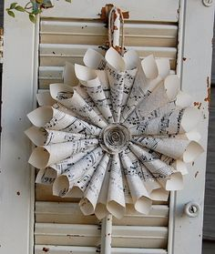Music paper wreath with center medallion - use initial