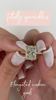 Elongated cushion cut engagement ring An insane Nature Sparkle elongated cushion cut. 4 carats of pu Engagement Ring Rose Gold, Engagement Rings Cushion, Princess Cut Engagement Rings, Beautiful Engagement Rings, Engagement Ring Cuts, Beautiful Rings, Solitaire Princess Cut, Emerald Cut Engagement, Engagement Parties