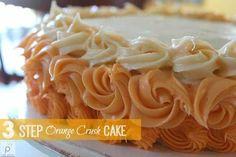 Orange Crush soda added to boxed cake mix creates the best Orange Crush Cake recipe! Super easy & special for birthday or any occasion. Soda Pop Cake, Cake Mix And Soda, Just Cakes, Cakes And More, Quick Easy Desserts, Delicious Desserts, Orange Crush Cake, Strawberry Yogurt Cake, Cake Receipe