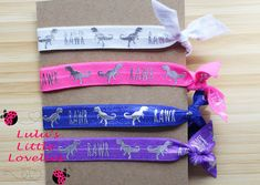 Dinosaur Hair Ties, DINO RAWR, Stretchy Pony Tail Holder, Birthday Gift, Stocking Stuffers, Birthday Party Favors, Hair Tie Gift Set by CLulusLittleLovelies on Etsy