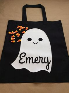 Trick Or Treat Bag Personalized Trick Or by FirstsAndForevers