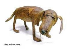 Хочу предложить вашему вниманию способ изготовления собачки из готового порошка папье-маше в два этапа. Прежде чем приступить к работе, постарайтесь внимательно рассмотреть живую собаку. Обратите внимание на то, как меняется направление роста шерсти животного, сколь различны оттенки цвета в ее масти.