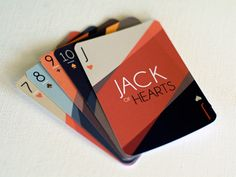 The history of graphic design is rich with many different historical movements.  These playing cards were designed to emulate the most distinctive qualities of the Art Deco movement (one of the most recognizable periods of graphic design) and do so perfectly by using bold colors, streamlined shapes and geometric fonts and patterns.