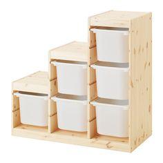 TROFAST Säilytyskokonaisuus IKEA Tukeva ja ilmeeltään leikkisä kalustesarja lelujen säilyttämiseen, istumiseen, leikkimiseen ja rentoutumiseen.