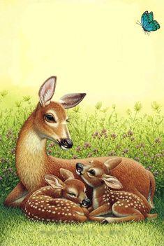 Mama and Baby Deers Wildlife Paintings, Wildlife Art, Animal Paintings, Animal Drawings, Art Drawings, Animals And Pets, Baby Animals, Cute Animals, Beautiful Birds