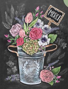 - Bouquet - Chalk Art - Spring Art - Flowers - Hand Drawn - Illustration - Home Decor - Art Print Fleurs Bouquet Kreide Kunst Frühling Kunst von LilyandVal Blackboard Art, Chalkboard Print, Chalkboard Lettering, Chalkboard Designs, Art Floral, Floral Card, Flower Bouquet Boxes, Merci Paris, Lily And Val