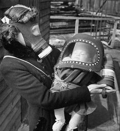 vintage baby gas mask - don't worry be happy