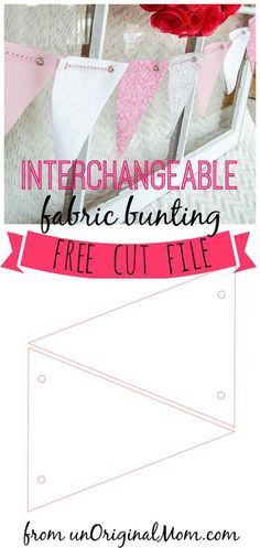 No-Sew Fabric Bunting that you can mix and match depending on the holiday, season, or occasion! Plus a free cut file! #diy #bunting  #valentinesday