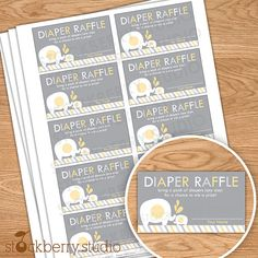 Yellow and Gray Elephant Baby Shower Diaper Raffle Tickets