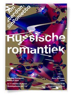 Vincent Vrints (designed at Studio Dumbar, Amsterdam Sinfonietta, Russische Romantiek Web Design, Graphic Design Layouts, Graphic Design Posters, Brand Identity Design, Design Agency, Branding Design, Flyer Design, Typographic Poster, Typographic Design