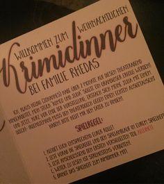 Krimidinner-Einladung und Spielregeln. Wie wäre es zum Beispiel mit einem Krimidinner um die Weihnachtszeit mit der ganzen Familie?