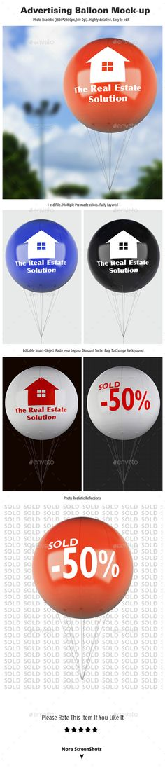 Buy Advertising Balloon Mock Up By Rddesignstudio On Graphicriver Advertising Balloon Mock Up Features Organized Layers Easy And Fast Editing With Smart
