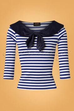 Steady Clothing Betsy Stripes Tie Top Années 50 en Bleu et Blanc