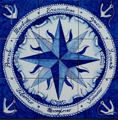 Hand Painted Wind Rose Boat Anchor - Compass Rose - Nautical Decor - Wall Mural - Floor Tiles - Tile Floor Medallion - North South East West