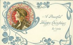 A PEACEFUL HAPPY CHRISTMAS TO YOU  head upper left, brown & pink decorations round head, head piece with dangling ornament. she faces & looks left