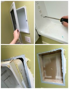 Bathroom Makeover: Removing the existing medicine cabinet to create a stylish new niche - Follow along on this DIY Bathroom Makeover Challenge in 30 Days (or less)