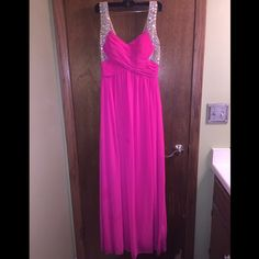 Pink sequin prom dress Worn once for prom. Zipper back and built in bra cups. Size 9 and beautiful sequin pattern throughout the shoulders and back City Studio Dresses Prom