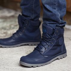 Fancy - Indigo Pampa Sport Cuff Boots by Palladium Walk In My Shoes, Me Too Shoes, Men's Shoes, Shoe Boots, Shoes Sneakers, Cold Weather Boots, Mein Style, Sneaker Boots, Lace Up Boots