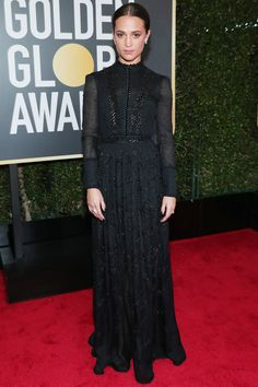 All the Glamorous 2018 Golden Globes Red Carpet Arrivals - Alicia Vikander from InStyle.com
