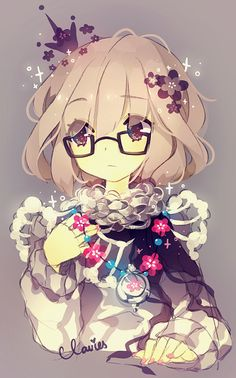 Anime. Anime Girl. Flowers. Glasses. Short Blonde Hair. Shot Light Brown Hair. Dark Brown Eyes.