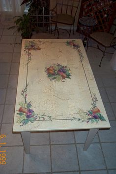 Crackled Dining Table Painted with Fruit Design