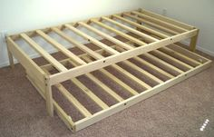 Twin Platform Bed Frame With Trundle Twin Platform Bed Frame, Trundle Bed Frame, Diy Bed Frame, Bed Frames, Toddler Trundle Bed, Twin Xl Bed Frame, Twin Trundle Bed, Sofa Frame, Toddler Bed