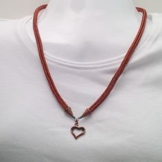 Antique copper viking knit necklace with heart pendant by DonnaDStore on Etsy