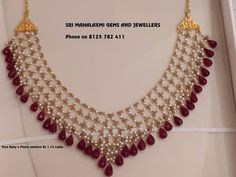 Necklace Designs For Men – Ruby jewelry necklaces - Ruby jewelry necklaces, Pearl jewelry necklace, Jewelry design necklace, Gold jewelry necklace, Gol - Pearl Necklace Designs, Beaded Jewelry Designs, Jewelry Design Earrings, Ruby Jewelry, Gold Jewellery Design, Bead Jewellery, Silver Jewelry, India Jewelry, Bridal Jewelry