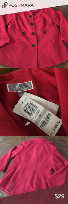 """SALE! NWT JM Collection sz1X """"Red Amore"""" pea coat NWT JM Collection sz1X """"Red Amore"""" pea coat.. JM Collection Jackets & Coats Pea Coats"""