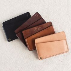 3 Pocket Minimal Leather Wallet // by fullgive | Etsy Minimalist Leather Wallet, Slim Leather Wallet, Minimalist Bag, Leather Card Case, Men Wallet, Leather Diy Crafts, Leather Projects, Leather Craft, Personalized Leather Wallet