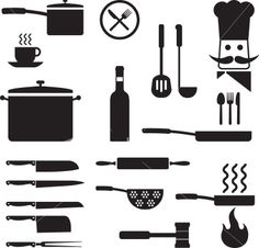 Ideas For Kitchen Utensils Vector Icon Set Cooking Utensils, Kitchen Utensils, Free Vector Art, Vector Icons, Kitchen Icon, Cooking Icon, Recipe Icon, Kitchen Island With Seating, Kitchen Images