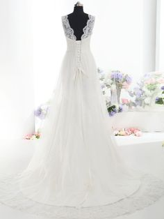 ZINNIA - A-Line Organza Wedding Dress with Straps, Lace Detailing and Train