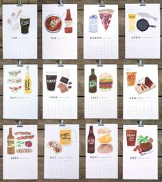 2013 seasonal beer and food pairings calendar. Each month features an illustrated variety of beer and its ideal food mate...India Pale Ale and a burger, Porter and S'mores, Amber Ale and chili, Pilsner and a fish fry...perfect matches. Calendar displayed with a 1 - 1/4 inch bulldog clip.    Final calendar size - 7 x 11