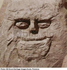 Stone head from pagan Celtic shrine at Cinderford, Gloucestershire > Celtic art