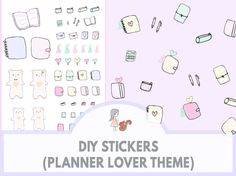 DIY Stickers (Planner Lover Theme) | www.sweetestchelle.com Diy Stickers, Planner Stickers, Bullet Journal, Lovers, Blog