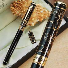 Livraison gratuite bureau de l'école fournit gros stylo Picasso luxe noir et or M nib fountain pen haute qualité écriture à la plume(China (Mainland))