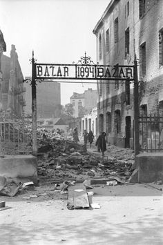 View of the entrance to a marketplace reduced to rubble as a result of a German aerial attack. Warsaw, Poland, September 1939.