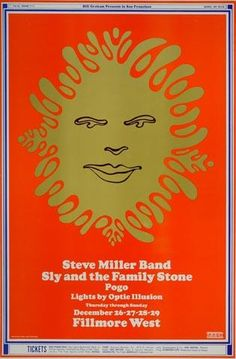 Rock Posters, Band Posters, Music Posters, Hippie Posters, Sound Of Music, Good Music, Wes Wilson, Sly Stone, Fillmore West