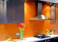 kitchen with orange splashback - Google Search
