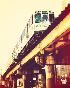 Chicago Art Print - train decor, CTA Blue Line photography - Chicago train photography, urban wall art, yellow, orange, red, teal - Blue on Etsy, $30.00