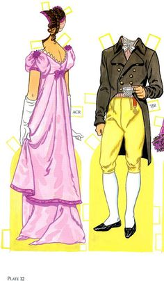 Thomas Jefferson and His Family Paper Dolls by Tom Tierney  - Dover Publications, Inc.,1992: Plate 12a and b (of 16)