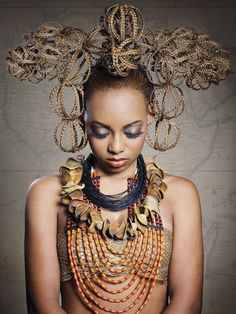 Celebrating tribal cultures that have long since melded with urban lifestyles, stylist and artist Timothy Cabell creates a stunning collection that honors African elegance, exotic beauty and feminine expressions of pride. Photog: Zoe Christou Welsh #Breathtaking #HotOnBeauty