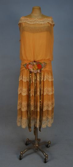 1920s 'Chiffon 'robe de style' with metallic gold trim'    SmugMug
