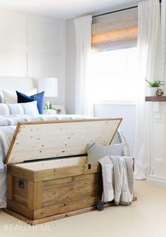 This DIY blanket storage chest will fit beautifully into any space and provides great additional storage for items such as blankets, pillows and toys. It can also be used as a coffee table, bench in an entryway or at the foot of a bed. It's simple, clean lines make it a timeless piece for your home.