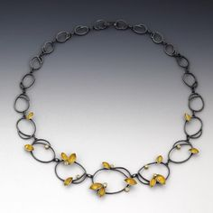 """I started to work on the leaves series this year which is directly from my marquis element. You can find this """"twirling leaves"""" necklace and the series at Chain Jewelry, Jewelry Necklaces, Jewellery, Bracelets, Leaf Necklace, Beaded Necklace, Pendant Necklace, Marquis, Chains"""