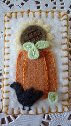 Wool Felt Penny Rug Brooch Fall Pumpkin by pennysbykristie