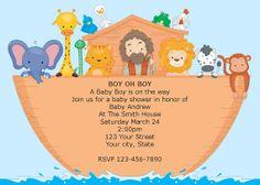 Boy Noahs Ark Printable Baby Shower Invitations DIY Digital Image via Etsy