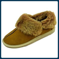 Lammfellschuh Yukon Hüttenschuhe Hausschuhe Lammfell Mokassin mit Gummisohle, Schuh Größe:38