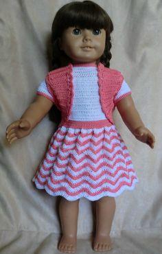 218 Chevron Outfit Crochet Pattern für amerikanisches Mädchen Puppen