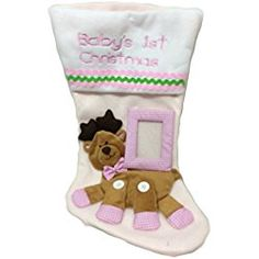 """Personalized Baby's First Christmas Stocking ~ Stocking Embroidered with """"My First Christmas"""" with Photo Frame and Animal Applique (Pink) Baby's First Christmas Stocking, Babies First Christmas, Christmas Stockings, Xmas, Christmas Decorations, Holiday Decor, Personalized Baby, Baby Names, Sewing Crafts"""